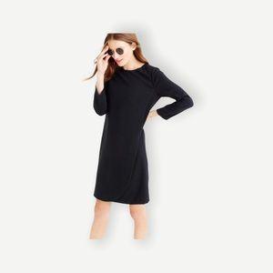 J. Crew Sz L Petite Black Long Sleeve Sheath Dress Classic Fall Piece! LBD
